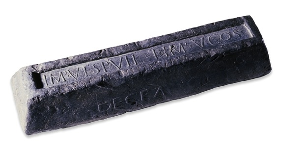 Lead ingot AD 76 with the letters DECEANG